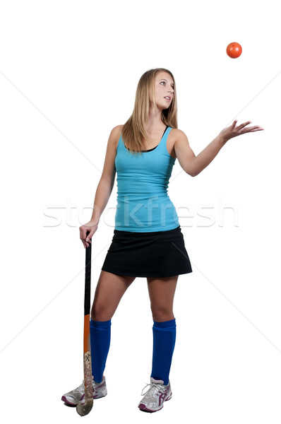Nő gyeplabda gyönyörű fiatal nő játékos lány Stock fotó © piedmontphoto