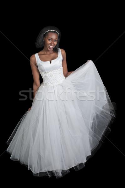 Afroamerikai nő esküvői ruha fekete afroamerikai nő menyasszony Stock fotó © piedmontphoto