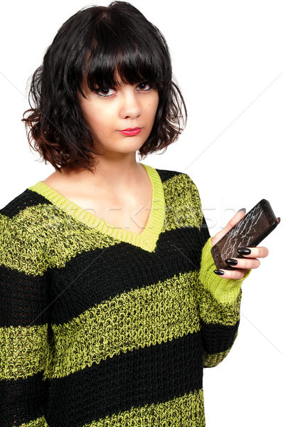Woman with cracked phone screen Stock photo © piedmontphoto