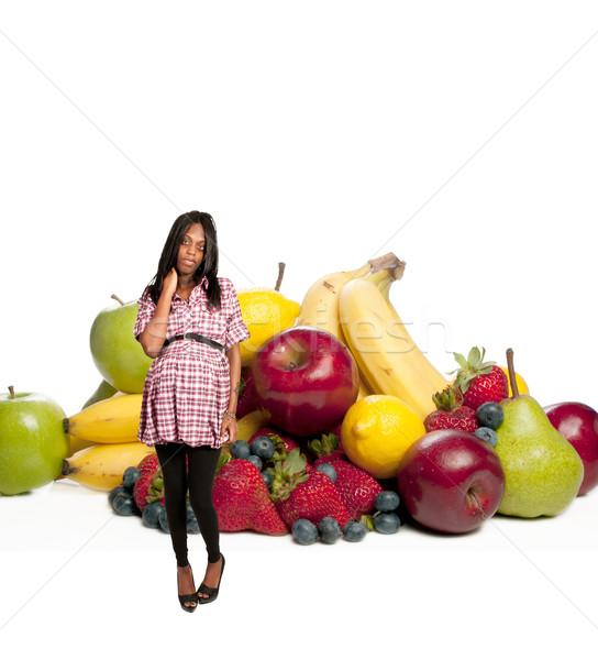 Czarnej kobiety owoce czarny kobieta w ciąży szeroki Zdjęcia stock © piedmontphoto