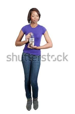 Kobieta konto piękna kobieta monet Zdjęcia stock © piedmontphoto