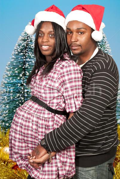 Zwarte paar christmas hoeden Stockfoto © piedmontphoto