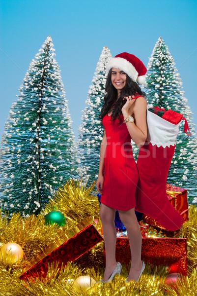 Mujer hermosa regalos almacenamiento Navidad regalo Foto stock © piedmontphoto