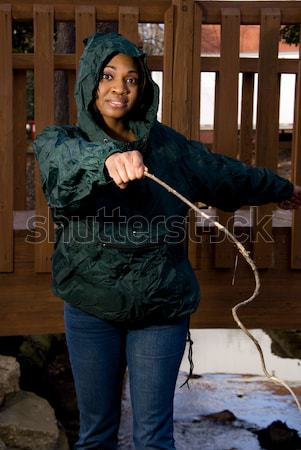 Nő gyönyörű fiatal nő lövöldözés dolgok épület Stock fotó © piedmontphoto