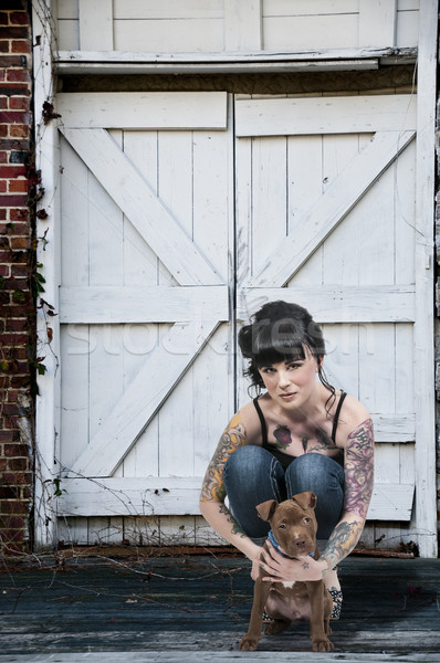 Beautiful Woman and Pit Bull Puppy Stock photo © piedmontphoto