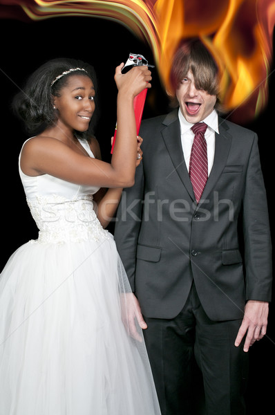 Black Woman and Flaming Man Stock photo © piedmontphoto