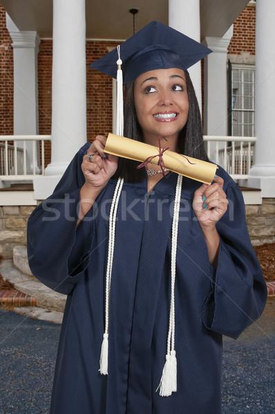 Diplomás fiatal fekete afroamerikai nő érettségi Stock fotó © piedmontphoto