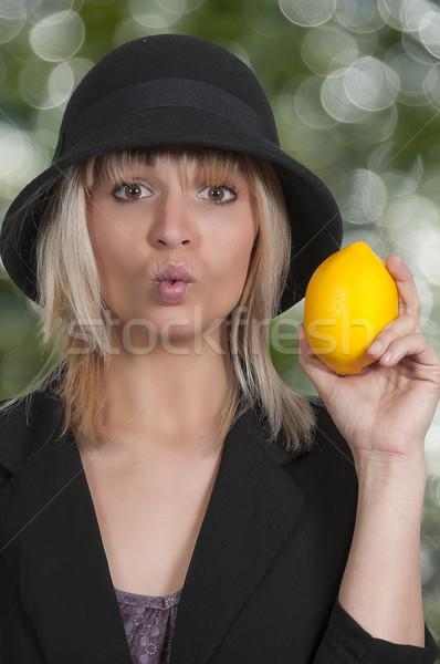 Woman Holding Lemon Stock photo © piedmontphoto