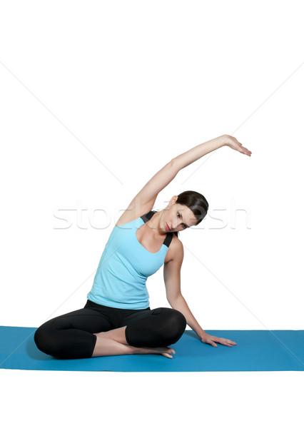 Сток-фото: женщину · йога · красивая · женщина · Lotus · положение · женщины