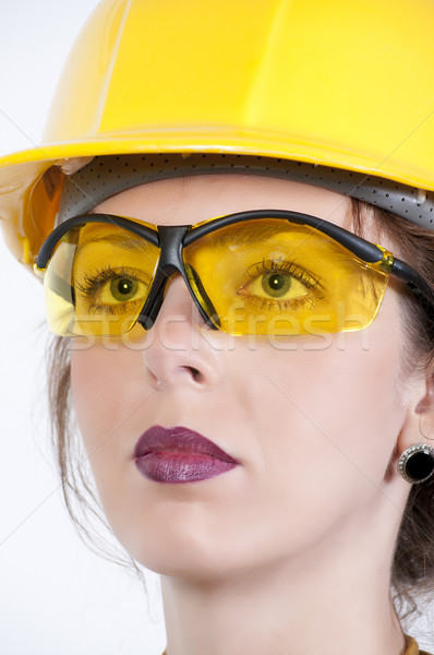 Stock photo: Woman Wearing Safety Glasses