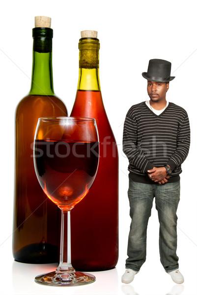 アフリカ系アメリカ人 男 ワイン 黒 ワイングラス ボトル ストックフォト © piedmontphoto