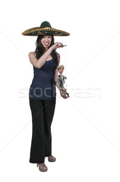 Nő szombréró marionett gyönyörű nő tart lány Stock fotó © piedmontphoto