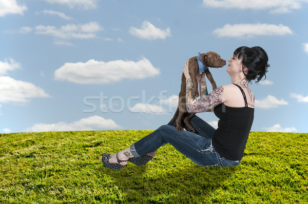 Beautiful Woman and Pit Bull Puppy Stock photo © piedmontphoto