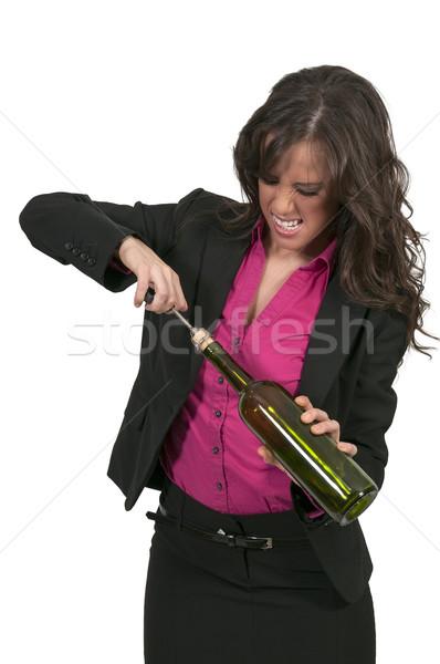 ストックフォト: 女性 · 開設 · ワイン · 美人 · ワインボトル · 少女