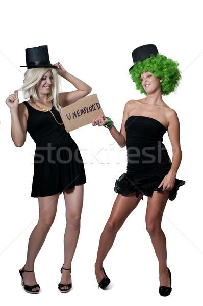 Vrouwen werkloosheid teken mooie jonge vrouwen Stockfoto © piedmontphoto