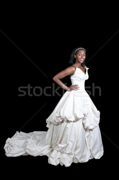 Stock fotó: Afroamerikai · nő · esküvői · ruha · fekete · afroamerikai · nő · menyasszony