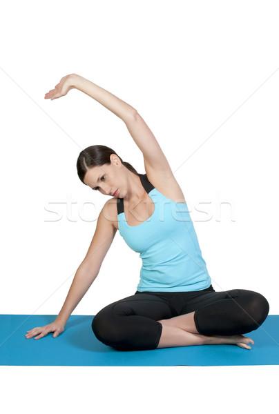 Mulher ioga bela mulher lótus posição mulheres Foto stock © piedmontphoto