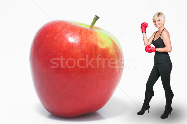 Boxe maçã belo mulher jovem par Foto stock © piedmontphoto