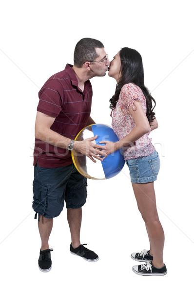 Paar strandbal spelen vrouw strand Stockfoto © piedmontphoto
