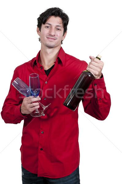 男 ワイン ハンサム 若い男 ワイングラス ストックフォト © piedmontphoto