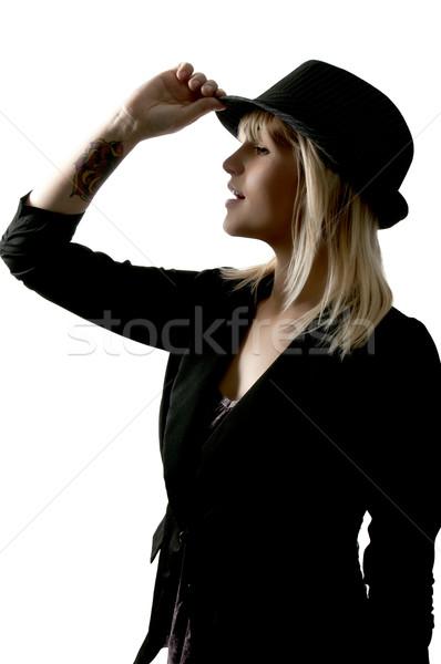 Mujer hermosa hermosa fedora sombrero nina Foto stock © piedmontphoto