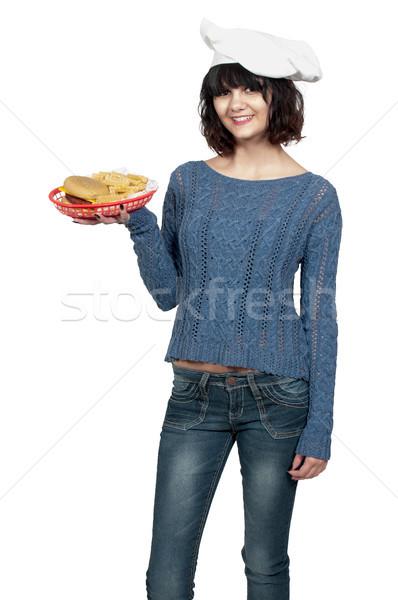 Kobieta kucharz piękna młoda kobieta cheeseburger Zdjęcia stock © piedmontphoto