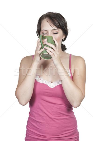 Woman Drinking Coffee Stock photo © piedmontphoto