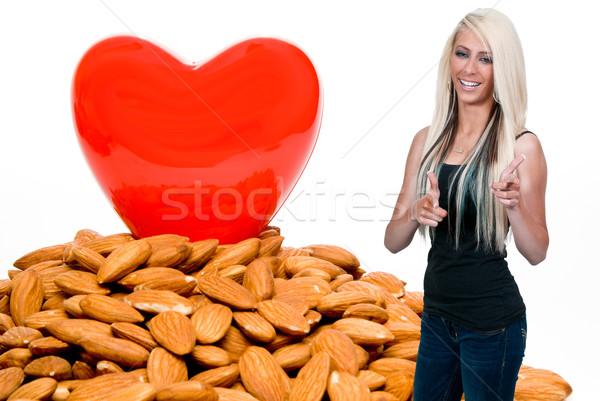 Gezond hart hart cholesterol meisje voedsel Rood Stockfoto © piedmontphoto