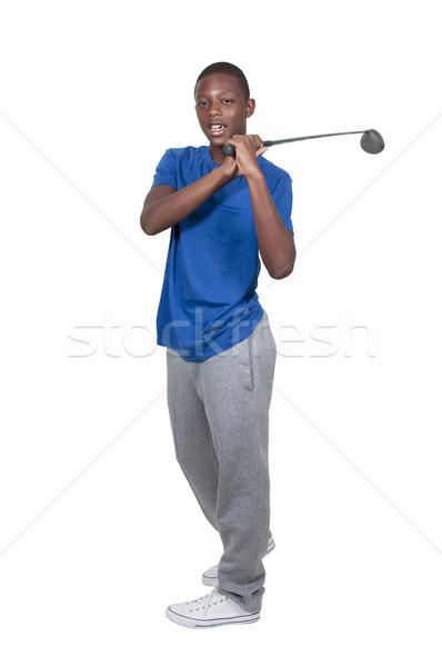 黒 十代の ゴルファー ハンサム 小さな アフリカ系アメリカ人 ストックフォト © piedmontphoto