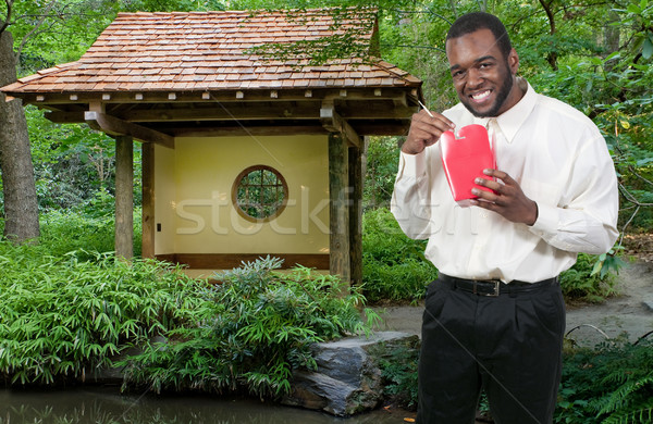 Man Eating Asian Food Stock photo © piedmontphoto