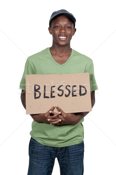 Man Holding Sign that says Blessed Stock photo © piedmontphoto