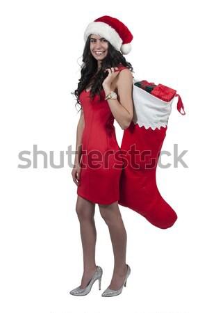 Bela mulher presentes lotação natal dom Foto stock © piedmontphoto