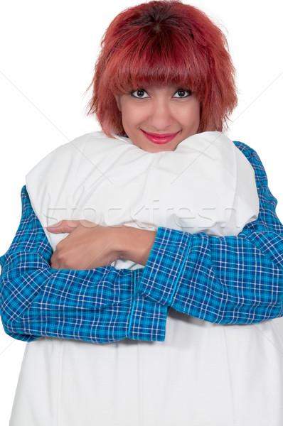 Beautiful Woman with a pillow Stock photo © piedmontphoto