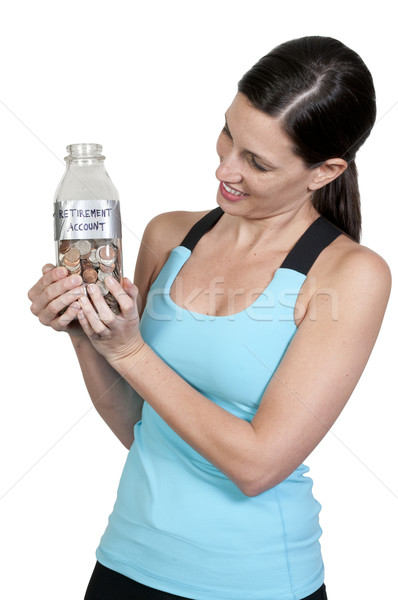 Vrouw pensioen rekening mooie vrouw munten Stockfoto © piedmontphoto