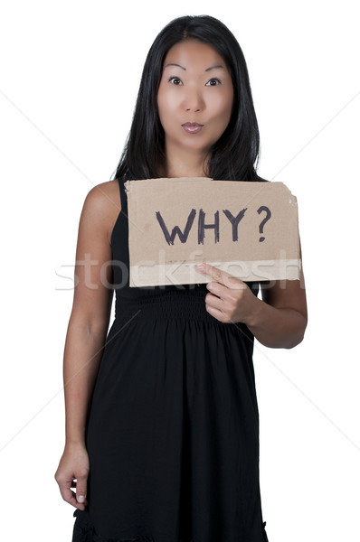 Woman Holding a Why Sign Stock photo © piedmontphoto