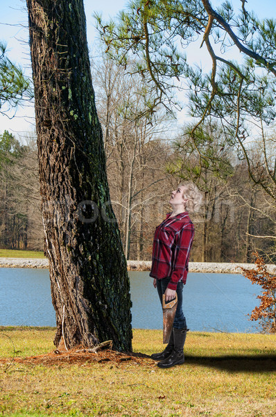 Woman Lumberjack Stock photo © piedmontphoto