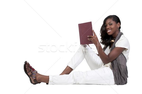 Foto stock: Mulher · leitura · livro · jovem · africano · americano · adolescente