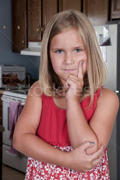 女の子 思考 美しい 深い 考え 女性 ストックフォト © piedmontphoto
