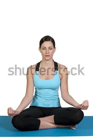 Kobieta jogi piękna kobieta Lotos pozycja kobiet Zdjęcia stock © piedmontphoto