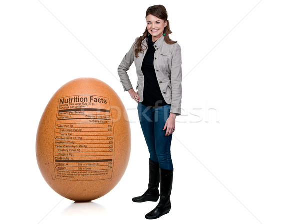 Woman Egg with Nutrition Facts Stock photo © piedmontphoto