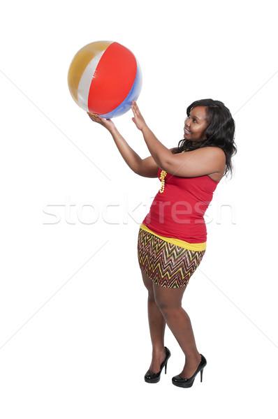 Frau halten Beachball schönen jungen schwarze Frau Stock foto © piedmontphoto