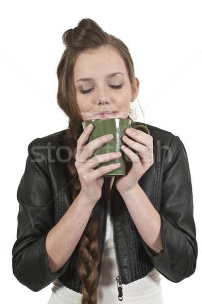 Woman Drinking Coffee Stock photo © piedmontphoto