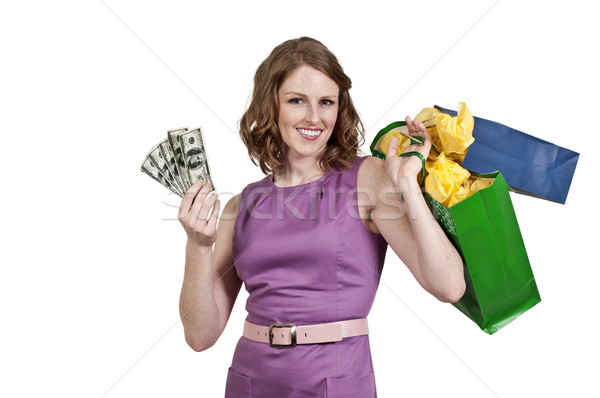 Stock photo: Woman Holding 100 Dollar Bills