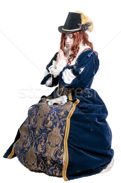 ストックフォト: 女性 · 本物の · ドレス · 肖像 · 祈る · 小さな