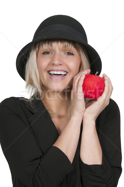 赤 リンゴ 美人 全体 ストックフォト © piedmontphoto