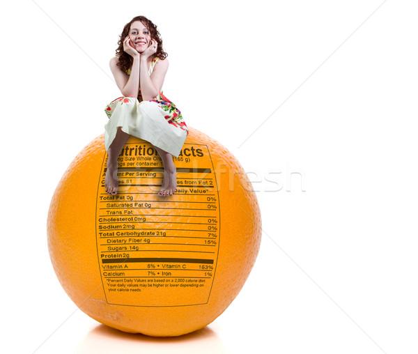 Femme orange nutrition réalités séance délicieux Photo stock © piedmontphoto