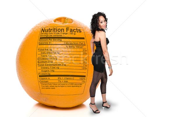 Mulher negra laranja nutrição fatos belo em pé Foto stock © piedmontphoto