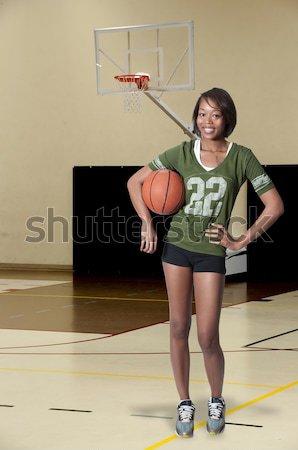女性 テニスコート 美しい 小さな 黒 アフリカ系アメリカ人 ストックフォト © piedmontphoto
