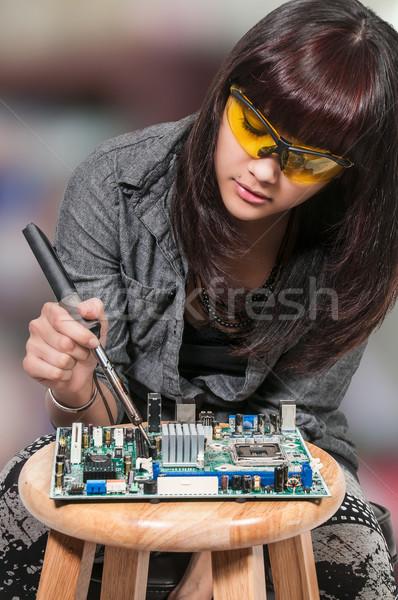 Woman soldering Stock photo © piedmontphoto