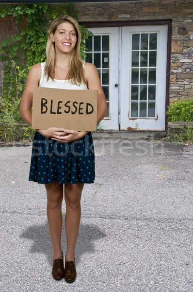 Woman Holding Sign that says Blessed Stock photo © piedmontphoto